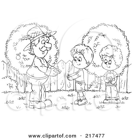 Royalty-Free (RF) Clipart Illustration of a Coloring Page Outline Of A Man Giving A Bundle To A Boy by Alex Bannykh