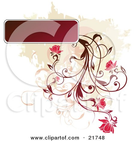 Clipart Picture Illustration of a Red Plant Flowering From A Blank Text Box Over A Tan And White Background by OnFocusMedia