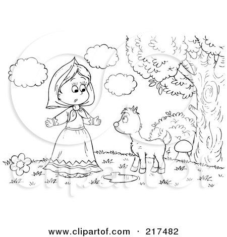 Royalty-Free (RF) Clipart Illustration of a Coloring Page Outline Of A Girl Talking To A Fawn by Alex Bannykh