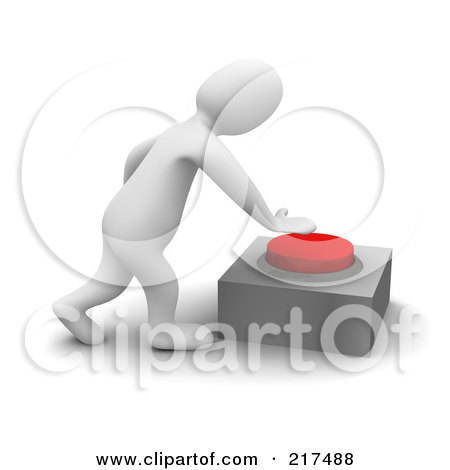 Royalty-Free (RF) Clipart Illustration of a 3d Blanco Man Pushing A Red Button by Jiri Moucka