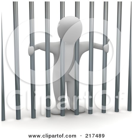 Royalty-Free (RF) Clipart Illustration of a 3d Blanco Man Locked Behind Bars by Jiri Moucka