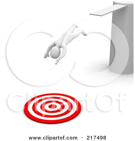 Royalty-Free (RF) Clipart Illustration of a 3d Blanco Man Diving Into A Bullseye From A Board by Jiri Moucka