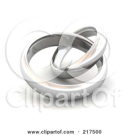 RoyaltyFree RF Clipart Illustration of 3d Silver Wedding Bands by Jiri