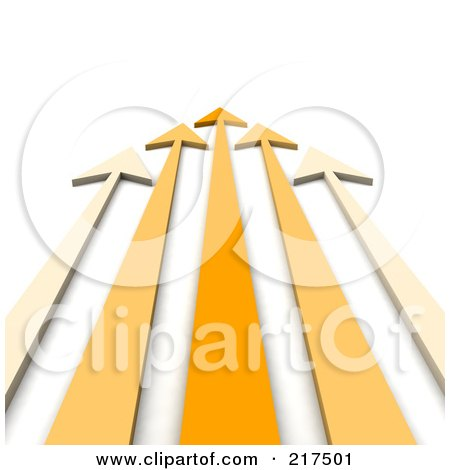 Royalty-Free (RF) Clipart Illustration of a 3d Team Of Orange Arrows Shooting Away by Jiri Moucka