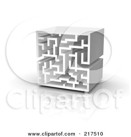 Royalty-Free (RF) Clipart Illustration of a 3d Upright Labyrinth by Jiri Moucka