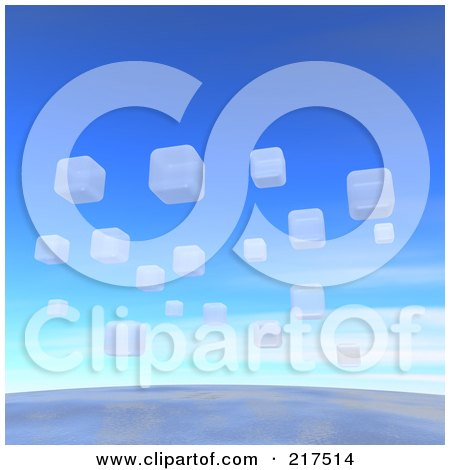 Royalty-Free (RF) Clipart Illustration of a Backgorund Of White 3d Blocks Floating Over The Earth by Jiri Moucka