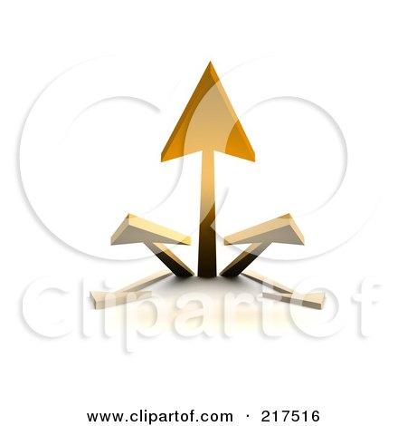 Royalty-Free (RF) Clipart Illustration of a 3d Group Of Orange Arrows Shooting Upwards by Jiri Moucka
