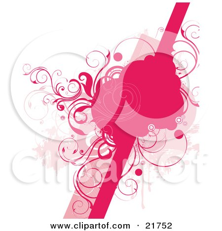 Clipart Picture Illustration of a Group Of Pink Circles On A Line With Scrolling Vines Over A White Background With Grunge by OnFocusMedia