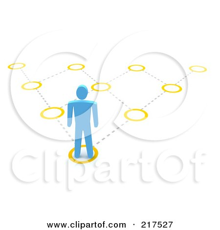Royalty-Free (RF) Clipart Illustration of a 3d Blue Man Facing A Pyramidal Diagram, On A White Background by Jiri Moucka