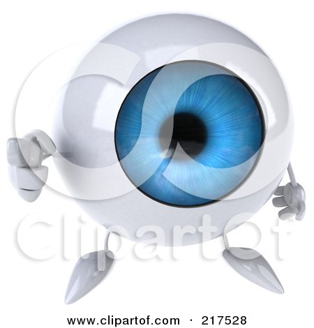 Royalty-Free (RF) Clipart Illustration of a 3d Blue Eyeball Character Looking Up And Pointing by Julos