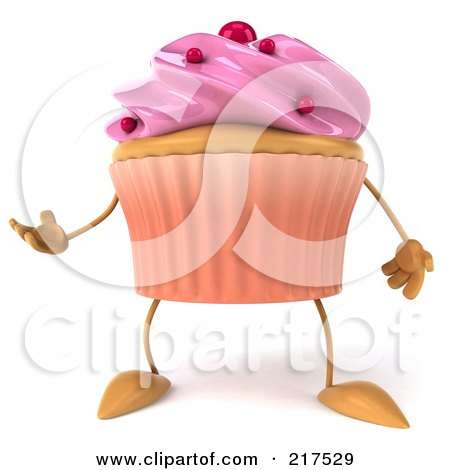 Royalty-Free (RF) Clipart Illustration of a 3d Strawberry Frosted Cupcake Facing Front And Gesturing by Julos