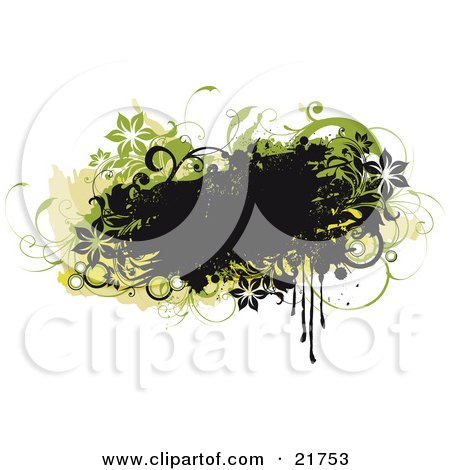 Clipart Picture Illustration of a Grunge Black Text Box With Black And Green Flowers, Circles And Vines by OnFocusMedia