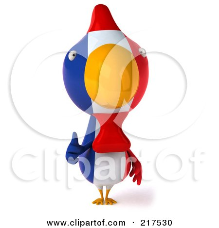 Royalty-Free (RF) Clipart Illustration of a 3d French Chicken Facing Front And Holding A Thumb Up by Julos