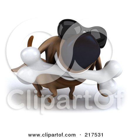 Royalty-Free (RF) Clipart Illustration of a 3d Chubby Dachshund Dog Wearing Shades And Carrying A Bone by Julos