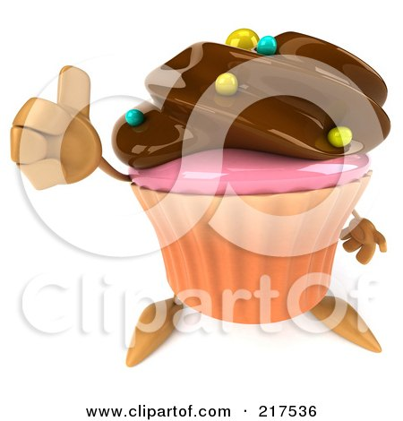 Royalty-Free (RF) Clipart Illustration of a 3d Chocolate Frosted Cupcake Holding A Thumbs Up by Julos