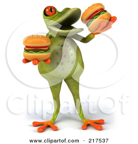 Royalty-Free (RF) Clipart Illustration of a 3d Fat Springer Frog Facing Front And Eating Hamburgers by Julos
