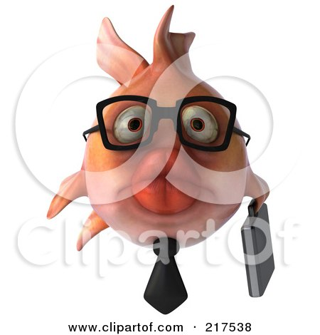 Royalty-Free (RF) Clipart Illustration of a 3d Pink Business Fish Facing Front by Julos