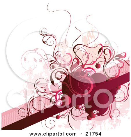 Clipart Picture Illustration of a Red Blank Line For Text Space With Red And Pink Circles And Vines Over A White Background by OnFocusMedia