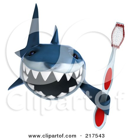 Royalty-Free (RF) Clipart Illustration of a 3d Shark Holding A Tooth Brush by Julos