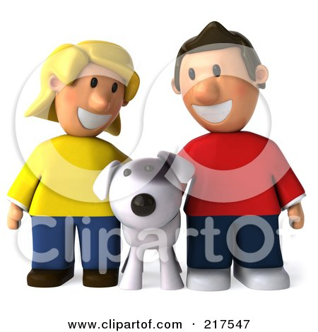 Royalty-Free (RF) Clipart Illustration of a 3d Casual Couple Smiling Down At Their Dog by Julos