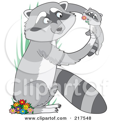 Royalty-Free (RF) Clipart Illustration of a Mother And Baby Raccoon In The Shape Of An R by Maria Bell
