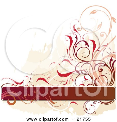 Clipart Picture Illustration of a Gradient Text Box With Pink, Brown And Orange Vines And Flowers Over A Green And White Background by OnFocusMedia