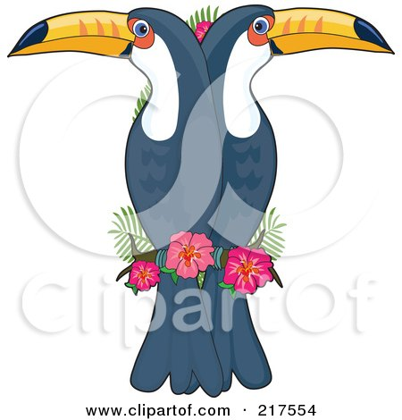 Royalty-Free (RF) Clipart Illustration of Double Toucans In The Shape Of A T by Maria Bell