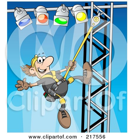 Royalty-Free (RF) Clipart Illustration of a Male Lighting Technician Setting Up Lights by Holger Bogen