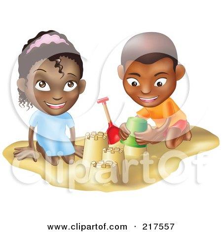 Black Boy And Girl Building Sand Castles Together Posters, Art Prints