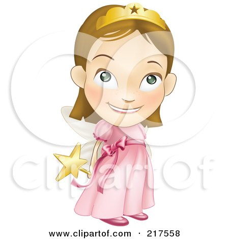 Royalty-Free (RF) Clipart Illustration of a Adorable White Girl In A Pink Fairy Princess Costume, Holding Her Wand Behind Her Back by AtStockIllustration