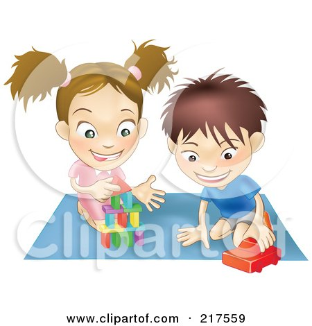 Royalty-Free (RF) Clipart Illustration of a White Boy And Girl Playing With Toys On A Floor Together by AtStockIllustration