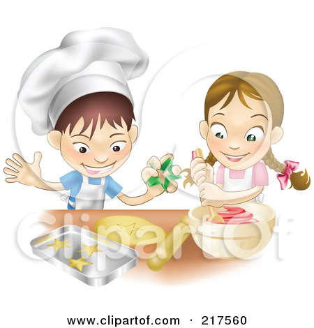 Royalty-Free (RF) Clipart Illustration of a White Boy And Girl Making Cookies Together by AtStockIllustration