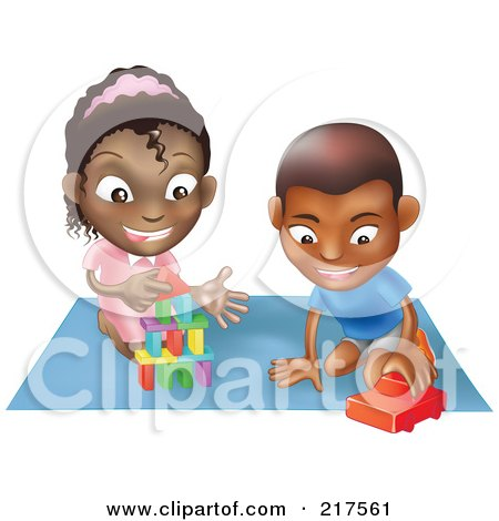 Royalty-Free (RF) Clipart Illustration of a Black Boy And Girl Playing With Toys On A Floor Together by AtStockIllustration
