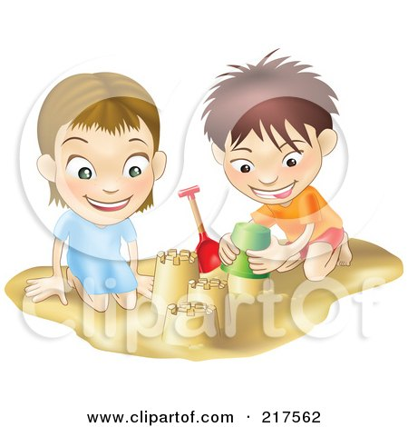 Royalty-Free (RF) Clipart Illustration of a White Boy And Girl Building Sand Castles Together by AtStockIllustration