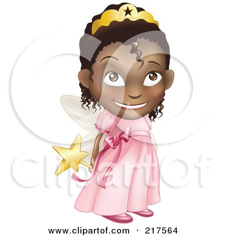 Royalty-Free (RF) Clipart Illustration of a Adorable Black Girl In A Pink Fairy Princess Costume, Holding Her Wand Behind Her Back by AtStockIllustration