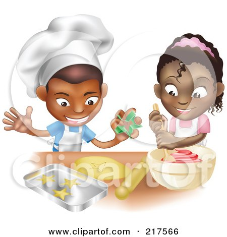 Royalty-Free (RF) Clipart Illustration of a Black Boy And Girl Making Cookies Together by AtStockIllustration