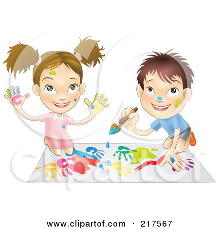 Royalty-Free (RF) Clipart Illustration of a White Boy And Girl Hand Painting And Painting Together by AtStockIllustration