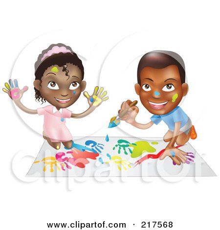Royalty-Free (RF) Clipart Illustration of a Black Boy And Girl Hand Painting And Painting Together by AtStockIllustration