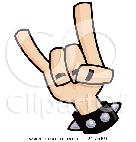 Royalty-Free (RF) Clipart Illustration of a Hand Gesturing Devil Horns by John Schwegel