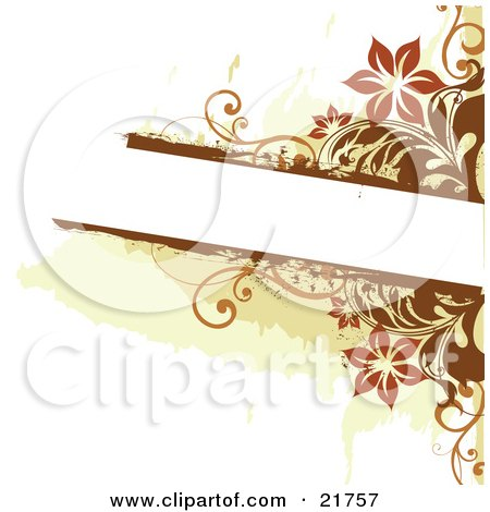 Clipart Picture Illustration of a White Text Box Bordered With Orange And Brown Flowers And Vines On A White Background by OnFocusMedia