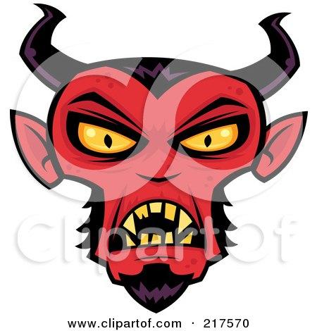 Royalty-Free (RF) Clipart Illustration of an Evil Devil Face by John Schwegel