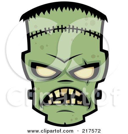 Royalty-Free (RF) Clipart Illustration of an Evil Frankenstein Face by John Schwegel