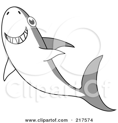 Royalty-Free (RF) Clipart Illustration of a Happy Gray And White Shark Swimming Upwards by Rosie Piter