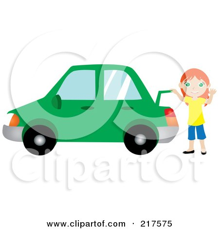 Royalty-Free (RF) Clipart Illustration of a Friendly Red Haired Girl Raising The Trunk Of Her Red Car And Waving by Rosie Piter