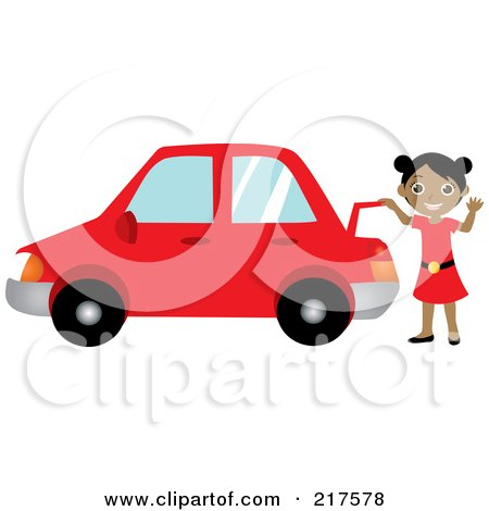 Royalty-Free (RF) Clipart Illustration of a Friendly Black Girl Raising The Trunk Of Her Red Car And Waving by Rosie Piter