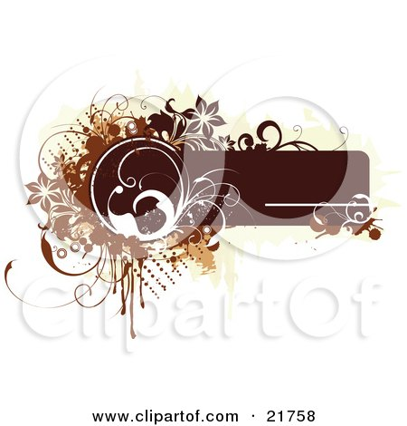 Clipart Picture Illustration of a Brown Text Box With White, Brown And Tan Dots, Flowers, Vines And Splatters On A White Background by OnFocusMedia