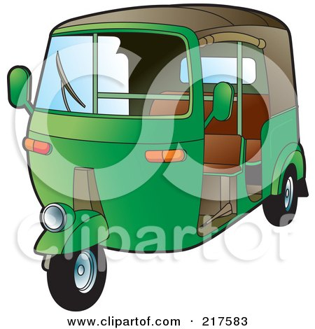 Royalty-Free (RF) Clipart Illustration of a Green 3 Wheeler Tuk Tuk by Lal Perera