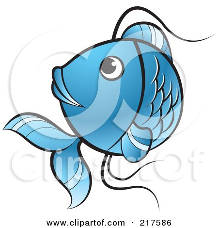 Royalty-Free (RF) Clipart Illustration of a Blue Koi Fish Turning by Lal Perera