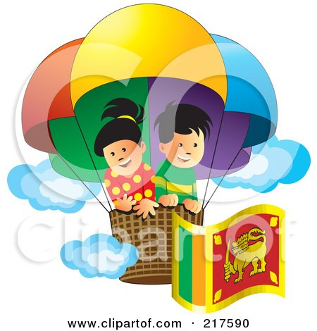 Royalty-Free (RF) Clipart Illustration of a Boy And Girl Flying With A Sri Lanka Flag In A Hot Air Balloon by Lal Perera