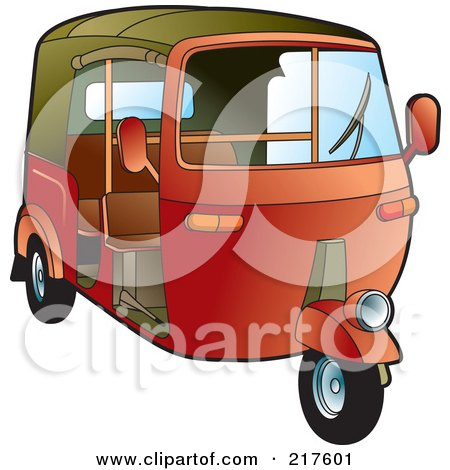 Royalty-Free (RF) Clipart Illustration of a Red 3 Wheeler Tuk Tuk by Lal Perera